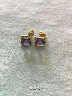 Roberto Coin Purple Amethyst and 18K gold stud earrings