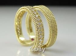 Roberto Coin Ring 18K Yellow Gold Double Symphony Barocco Diamonds Size 6.5