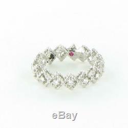Roberto Coin Roman Barocco Single Row Diamond Ring 18K White Gold 7771649AW65X