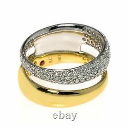 Roberto Coin Scalare 18k Yellow & White Gold Diamond Ring Sz 6.5 888617AJ65X0