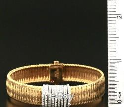 Roberto Coin Silk Weave 18K Yellow Gold Bracelet with 0.5 ctw Diamonds 9 bands