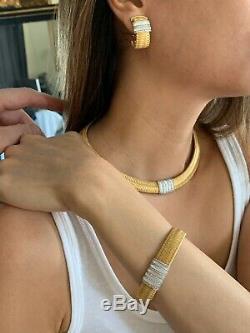 Roberto Coin Silk Weave 18K and Diamond Necklace Bracelet Earrings Ring Set