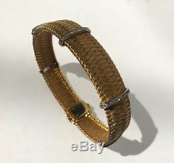 Roberto Coin Silk Weave Diamond 18K Yellow Gold Woven Bracelet