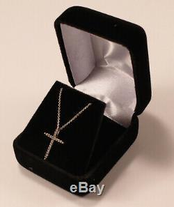 Roberto Coin Skinny Cross 18k White Gold Diamond Necklace Pendant