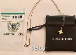 Roberto Coin Small Princess Flower Pendant 18K Yellow Gold 18 Necklace New $660