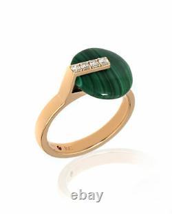 Roberto Coin Smartiesque 18k Rose Gold Diamond & Malachite Ring Sz 6.5 8882317AX