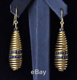 Roberto Coin Spiral Earrings 18K Yellow Gold Black Sapphire $3150 New Sale