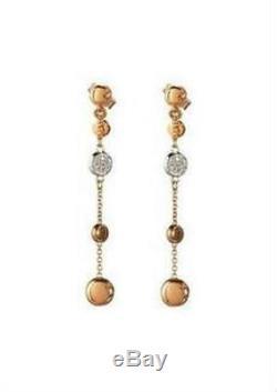 Roberto Coin Spring 4 Station Drop Earrings Diamond 18K Rose Gold New $1100