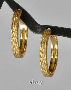 Roberto Coin Symphony Barocco Textured Hoop Earrings 18K Yellow Gold $1450 New