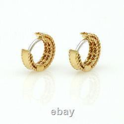 Roberto Coin Symphony Braided Diamond 18K Yellow Gold Huggie Hoop Earrings