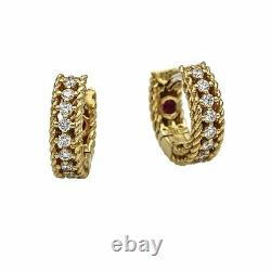 Roberto Coin Symphony Princess Diamond Hoop Earrings 18K White and Yellow Gold