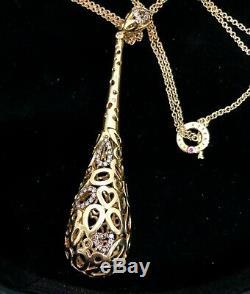 Roberto Coin Tear Drop Mauresque Brown Diamond 18k Yell Gold Pen & Chain Or Box