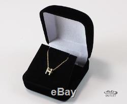 Roberto Coin Tiny Treasure 18k Gold Diamond H Letter Initial Necklace Pendant
