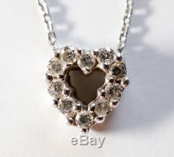 Roberto Coin Tiny Treasure 18k White Gold Diamond Heart Love Necklace Pendant