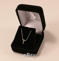 Roberto Coin Tiny Treasure 18k White Gold Diamond Letter T Initial Necklace
