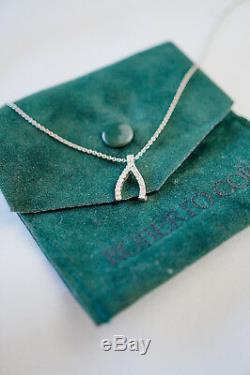 Roberto Coin Tiny Treasure 18k White Gold Diamond Wishbone Necklace Pendant