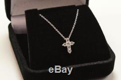 Roberto Coin Tiny Treasure Baby Cross 18k White Gold Diamond Necklace Pendant