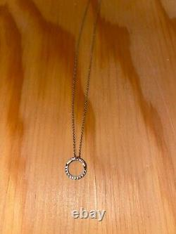Roberto Coin Tiny Treasure Circle 18k White Gold Diamond Necklace Pendant 350obo