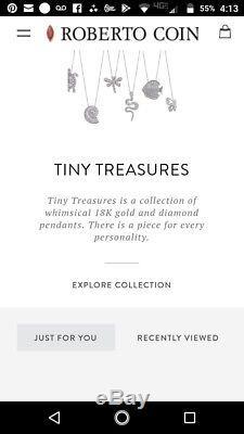 Roberto Coin Tiny Treasures 18k Gold Diamond Initial Pendants B, C, D & V