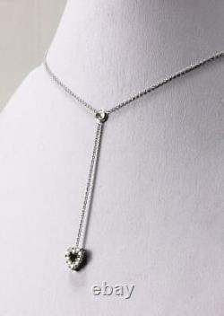 Roberto Coin Tiny Treasures 18k White Gold Diamond Heart Love Lariat Necklace