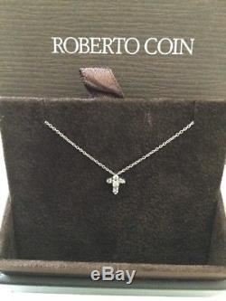 Roberto Coin Tiny Treasures Baby Cross Pendant Diamonds 18kt White Gold