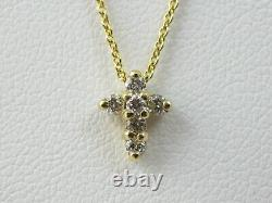Roberto Coin Tiny Treasures Baby Diamond Cross Necklace 18K Yellow 18 LIKE NEW