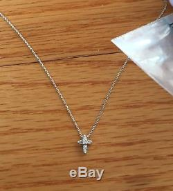 Roberto Coin Tiny Treasures Cross Necklace 18kt. White Gold