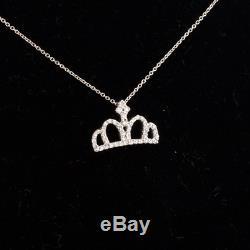 Roberto Coin Tiny Treasures Diamond Crown Pendant 18K White Gold Chain 14
