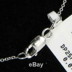 Roberto Coin Tiny Treasures Hope Pendant Diamond 18K White Gold Necklace New