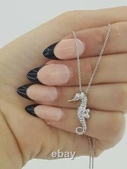 Roberto Coin Tiny Treasures Seahorse 0.1 ct Diamond 18K White Gold 18 Rtl $950