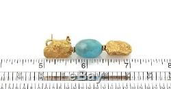 Roberto Coin Turquoise 18k Yellow Gold Nugget Style Drop Dangle Earrings