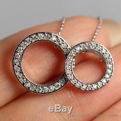 Roberto Coin Two-circle Diamond 18k White Gold Pendant Necklace 18