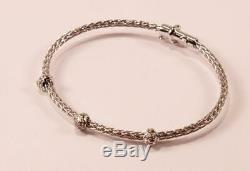 Roberto Coin Weave Woven 18k White Gold 3-station Diamond Bangle Bracelet