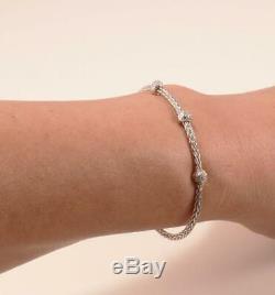 Roberto Coin Weave Woven 18k White Gold 3-station Diamond Bangle Bracelet