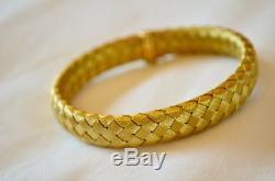 Roberto Coin Flexible Woven Silk Basket Weave 18k Gold Bangle Bracelet 30 6 Gm