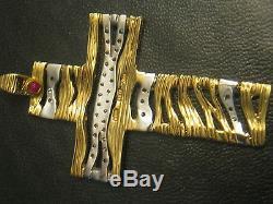 Roberto coin 18k gold cross pendant necklace 36 diamonds bailey banks not/scrap