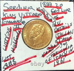Sardinia Italian State 1859 20 Gold Lire King Emmanuel II Ruled-gem Bu Details