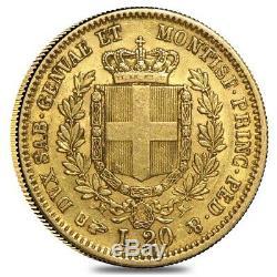 Sardinia Italy Gold 20 Lire Vittorio Emanuele II Avg Circ Random Year, 1850-1861