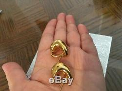 Signed ROBERTO COIN 18K Yellow Gold PUFFY GLOSSY EARRING HOOPS/ 8.4g