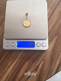 Solid 14k Yellow gold Withestate 1/10 Oz $5 Dollars Gold Withbraided Coin Bezel
