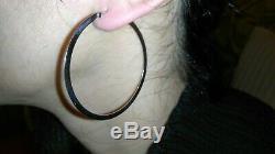 Solid 18k white gold Roberto Coin Italian large hoop earrings 8 grams