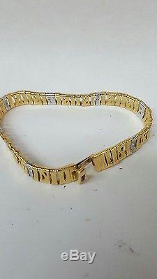 Solid Gold 18K DESIGNER ROBERTO COIN Elephant Skin Bracelet Diamond