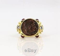 Solid Yellow Gold Ancient Coin 18k 750 Ring Size 8 Designer Italy Diamond Ruby