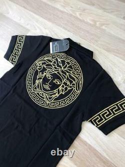 Spring Sale Original Versace Men`s Gold Graphic Polo T Shirt