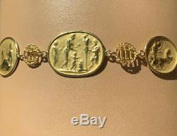 Stunning And Rare Tagliamonte Italy Solid 14K Gold Roman Coin Bracelet