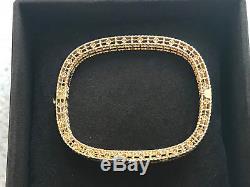 Stunning Roberto Coin 18k Gold Princess Fleur De Lis Satin Diamond Bangle