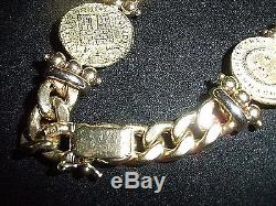 TAGLIAMONTE Designs 14K With 3 Venitian Coins Bracelet Solid Gold 28.6 g Heavy