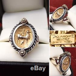 TAGLIAMONTE INTAGLIO 14K GOLD COIN & STERLING SILVER OVAL VINTAGE RING Size 6