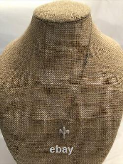 Tiny Treasures Diamond Fleur De Lis Necklace by Roberto Coin in 18k White Gold