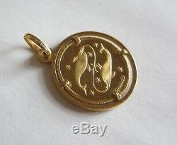 Unoaerre angel 750 18k gold Italy coin Pendant Medallion pisces Pietro Giampaoli